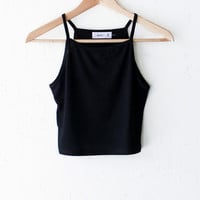 Black Knit Cami Crop Top