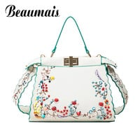 Beaumais Special Offer 2017 Women Leather Handbags Embroidery Pu Leather Shoulder Crossbody Bags For Women Messenger Bags DB5947