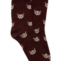 FOREVER 21 Fox Print Crew Socks Charcoal/Beige One