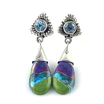 Multi Turquoise & Blue Topaz Sterling Silver Drop Earrings