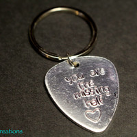 You Are the Missing Half, Hand Stamped Alumimum Guitar Pick Keychain, Musician Gift, Couples Accessory