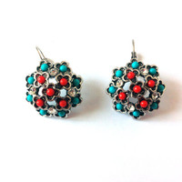 Beaded Earrings, Aqua Blue, Red, Beads, Rhinestones, Round