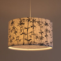 Lights Of London — Goose grass print white cotton lampshade with diffuser