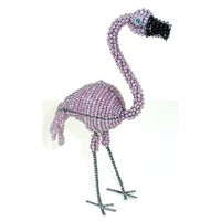 Handmade Pink Flamingo in Wire and Beads - South Africa