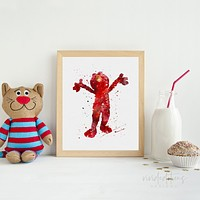 Elmo, Sesame Street Watercolor Art Print
