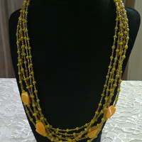 Gold and Yellow Multi-Strand Necklace - Golden Sunflower Necklace - Statement Necklace - 6 Strand Necklace - Seed Bead Necklace