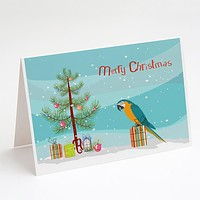 Macaw Merry Christmas Greeting Cards and Envelopes Pack of 8