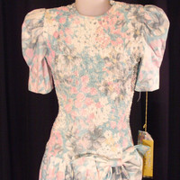 ON SALE 80s Retro Rockabilly Floral Pastel Dress NOS Tag Attached
