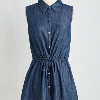 ModCloth Mid-length Sleeveless Chambray Kinda Day Tunic