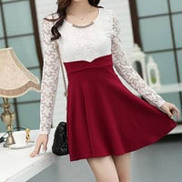 Wine Red Lace Long Sleeves Pleated Mini Dress