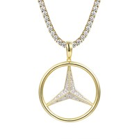 "Hip Hop Luxury car Logo 14k Gold Finish Pendant 24"" Chain"