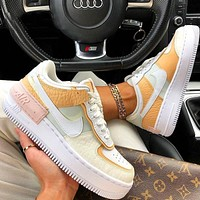 Onewel Nike Air Force 1 AF1 Flat Shoes Sports Sneakers Yellow Beige Apricot