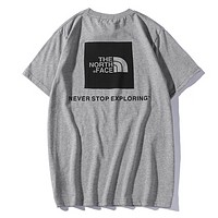 The North Face Summer Fashion New Letter Print Sports Leisure Women Men T-Shirt Top Gray