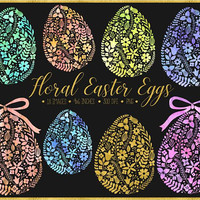 Watercolor Easter Egg Clipart. Gold Floral Easter Eggs. Pastel Watercolor Spring Clipart. Hand Drawn Pink, Mint, Gold, Peach Easter Clip Art