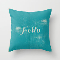 Hello Throw Pillow by Uma Gokhale