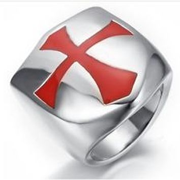 Knight Templar Red Cross Shield Ring Stainless