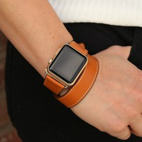 Genuine Leather Double Wrap Apple Watch Band | Brown and Black Apple Leather Band