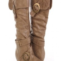 Taupe Faux Leather Buckle Strapped Cuffed Boots @ Amiclubwear Boots Catalog:women's winter boots,leather thigh high boots,black platform knee high boots,over the knee boots,Go Go boots,cowgirl boots,gladiator boots,womens dress boots,skirt boots,pink boot