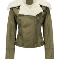 Green Multi-Zippered Jacket with Faux Shearling Lapel