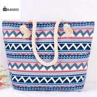 Baigio Summer Canvas Women Beach Bag Fashion Color Printing Lady Girls Handbags Shoulder Bag Casual Bolsa Shopping Bags