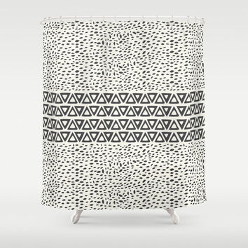 Aztec Black and White Shower Curtain II  – Minimal Tribal Design Great for Adult and Kids Bathroom