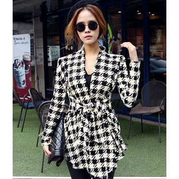 fhotwinter19 Explosive style, handsome personality, thin houndstooth jacket cardigan