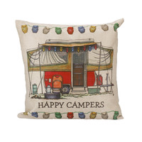 Happy Campers series Pattern Printed Pillowcases Home White Cotton and Linen Home Decorative Pillow Cover for Living Room &TC71