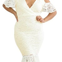 Cold Shoulder Bodycon White Lace Plus Size Dress
