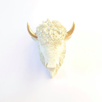 CUSTOM Cream w/ Gold SMALL Bison Head wall mount wall hanging Faux Taxidermy animal head / Cream with Gold Horns OR Choose Any Two Colors