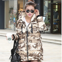 Women Camouflage Down Hooded Jacket