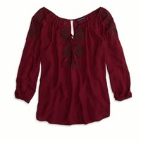 AEO FACTORY EMBROIDERED PEASANT SHIRT