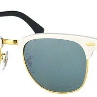 Authentic Ray Ban RB3507 Clubmaster 137/40 Brushed Silver Gold Sunglasses 51mm