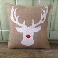 Burlap Pillow-  Sparkly Rudolph, Reindeer, Christmas/Holiday decor, Christmas pillow, Christmas Gifts