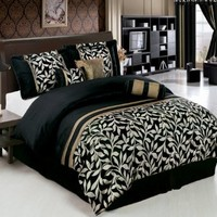 Chandler Black and Gold Full size Luxury 7 piece Comforter set includes Comforter, Skirt, Throw Pillows, Pillow, Shams by Royal Hotel