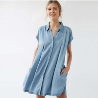 Light Blue Shirt Collar Double Pocket Denim Dress