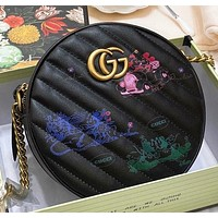 GUCCI Fashion New letter print leather shopping leisure round shoulder bag women crossbody bag Black