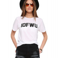 White IDFWU Letter Print Short Sleeve Graphic Tee