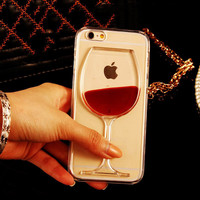 Red Wine Clear Transparent Phone Case hard back Cover for iPhone 5S/6/6Plus/6S Plus