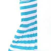 Aqua/White Striped Maxi Skirt