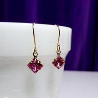 Swarovski Rose Pink Gold Earrings, Valentines Mothers Day Jewelry Gift, Mom Sister Grandmother, Simple Pretty