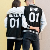 King 01 Queen 01 Varsity Jackets, Matching Couples, UNISEX