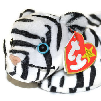 Free US Shipping, Ty Beanie Babies, Blizzard White Tiger, Retired NWT, DOB December 12 1996, Vintage Stuffed Toy, Vintage Plush, Collectible