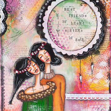 Mixed media painting with two girls - best friends, soulsisters, inspirational art dedicated to friendship, soulmate, wall art, art print