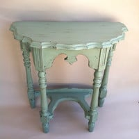 Cottage Chic Half Round Antique Side Table Shabby Chic Coastal SideTable
