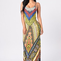 Multi-color Geometric Print Spaghetti Strap Maxi Dress