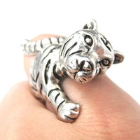 3D Tiger Shaped Animal Wrap Around Ring in Silver | US Size 7 - 9