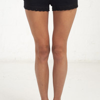 Lace Hem Drawstring Casual Shorts - Black