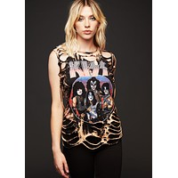 One of a kind Cutout KISS Band T Shirt customized by Peepshow Clothing