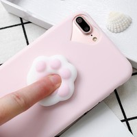 For iPhone 5S Case Lovely 3D Silicone Cartoon Cute Cat Paw Sea Lion Soft TPU Squishy Phone Case For iPhone X 6 6S 7 7 8 Plus