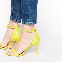 New Look Sensatory 2 Yellow Heeled Barely There Sandals
